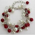 Christma Holiday Wear Red Ivory Pearls Cluster Bracelet with Clear Crystals