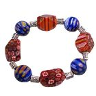 Shades Of Red & Blue Millefiori Stretchable Bracelet