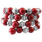 Handcrafted Stranded Bangle Can Customize Your Colors Coral Red Pearls And Bali Silver Spacer Bracelet