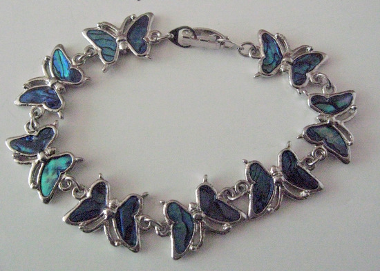 butterfly bracelet with abalone shell beautiful gift inexpensive