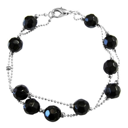 Simulated Black Immitation Crystals Multifaceted Two Strand Bracelet
