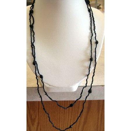 Long Necklace Black Small Bead Chain Beaded Necklace