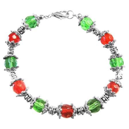 Red & Green Glass Beads w/ Daisy Spacer Christmas Jewelry