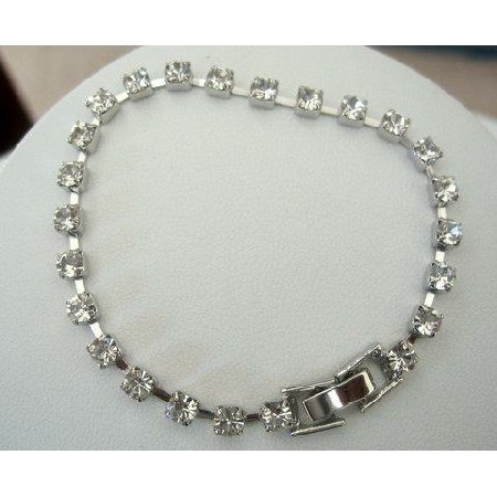 Simulated Diamond Cubic Zirconia Diamante 7 Inches Long Bracelet Gift