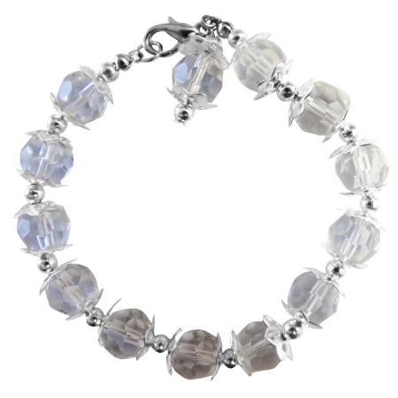 Handcrafted Elegant Pure Clear Crystals Bracelet Clear Beads Bracelet