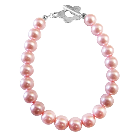 Sexy Pink Pearls Bracelet Jewelry with Flower Toggle Clasp