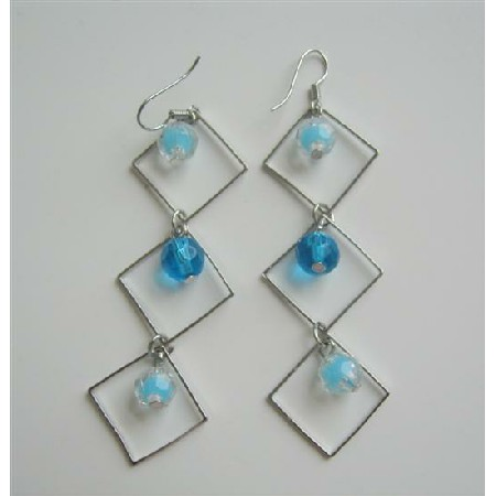 Aquamarine Blue Bead Dangling Earrings Diamond Frame with Earrings