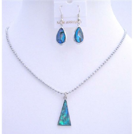 Triangle Pendant Set Dyed Dark Blue Mother Shell Necklace Set