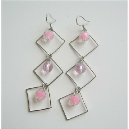 Pretty Pink Beads Dangling Earrings From Diamond Frame Beads Earrings