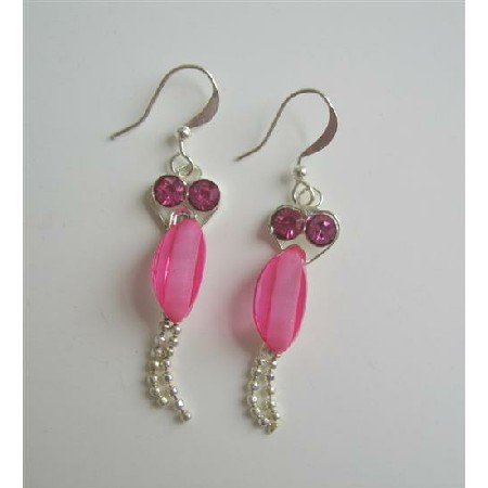 Cute Beautiful Pink Cubic Zircon w/ Dangling Silver Chain Earrings