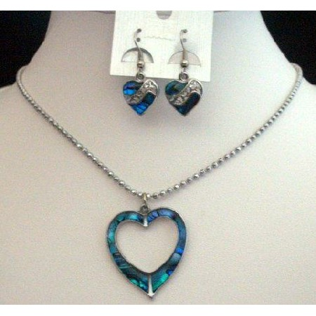 Heart Pendant Necklace & Earrings Set Mother Shell Blue Necklace Set