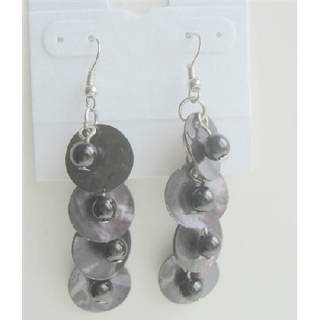 Black Simulated Pearls & Shell Earring