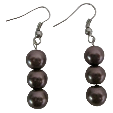 Simulated 8mm Brown Pearls Beautiful Brown Pearls Accented Earrings
