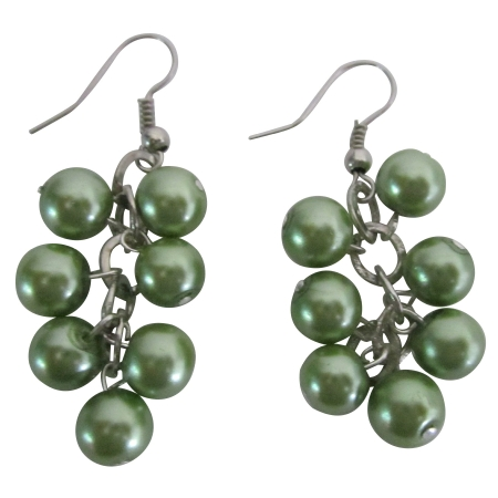 Green Pistachio 8mm Simulated Green Drop Pearls Earrings Jewelry Gift