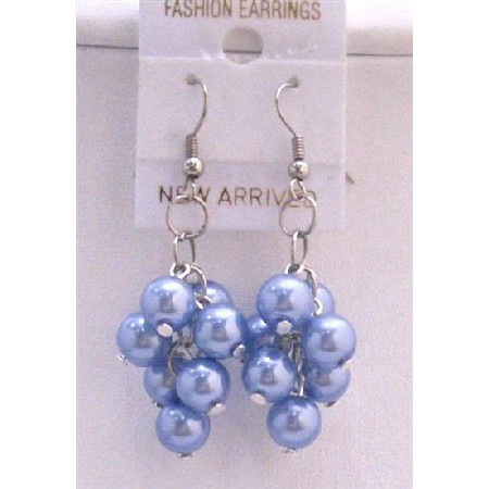 Beautiful Simulated Blue Pearls Earrings Aquamarine Pearls Earrings