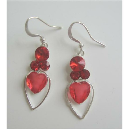 Romantic Earrings Red Heart In Silver Frame Heart Earrings