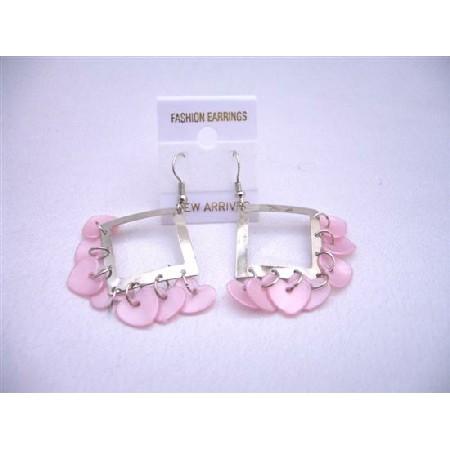 Chandelier Earrings Pink Romantic Heart Dangling Beads Earrings Gift