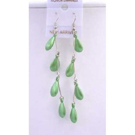 Earrings Beautiful Green Beads Dangling Earrings