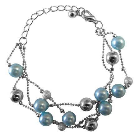 Grey Pearls Three Stranded Bracelet with Silver Balls & Fancy Beads