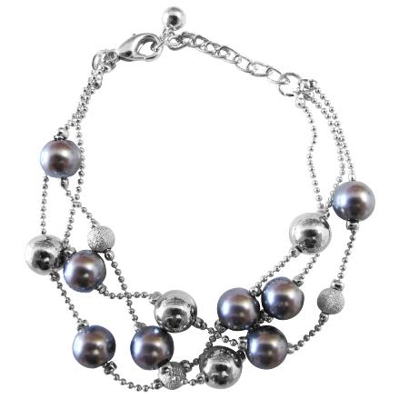 Immitation Three Stranded Bracelet Blue & Pink Pearls AB Crystals