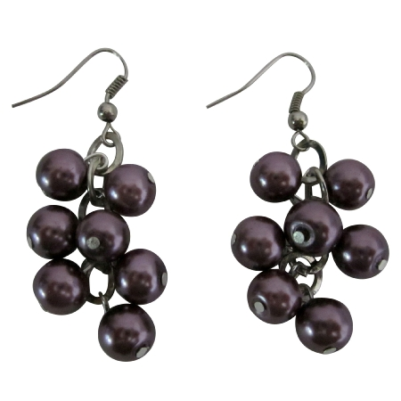 Simulated Synthetic Dark Purple 8mm Pearls Grape Pearls Earrings Gift