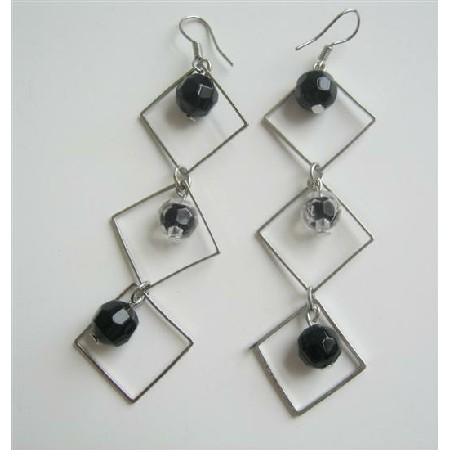 Black Beads Dangling Earrings From Diamond Frame w/ Beads Earrings