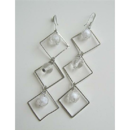 Diamond Frame w/ White Beads Dangling Earrings