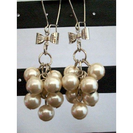 Pearls Drop Earring Bunch of Synthetic Cream Pearls