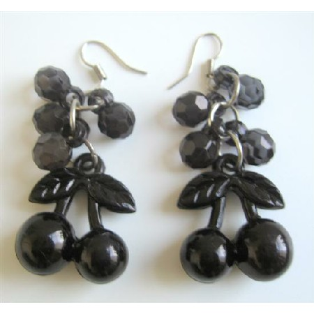 Striking Black Beaded Simulated Crystals Bunch Beads Earrings