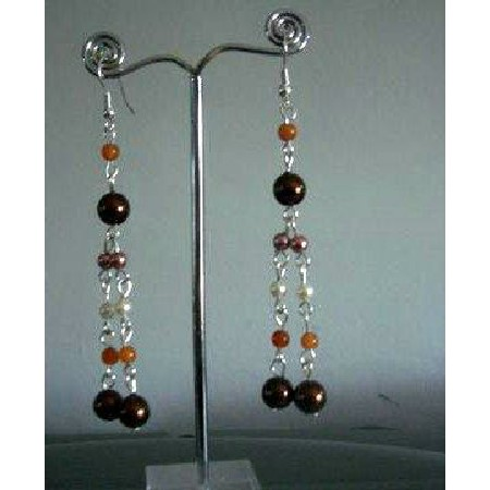 Multi Color Pearls Drop Earrings Cultured Pearls Earrings Jewelry Gift