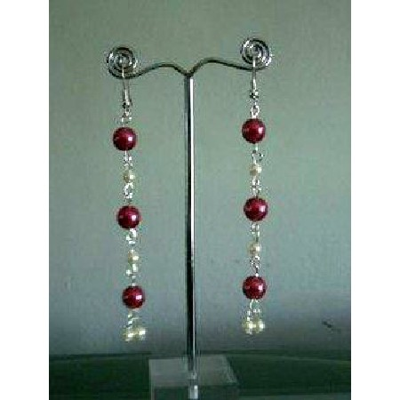 Cultured Pearls Drop Earrings w/ Red & Cream Colors Earrings Jewelry