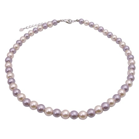 Cream Necklace Cultured Pearls & Lt. Purple Choker