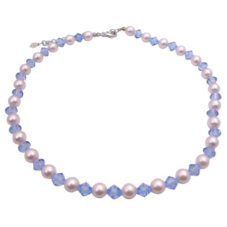 Ivory & Aqua Blue Crystals Culture Pearls & Crystals Choker Necklace