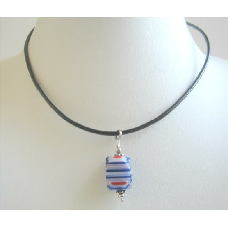 Blue Millefiori w/ White Red Stripes