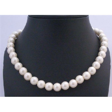 Affordable Flower Girl Stretchable 12mm Ivory Pearls Necklace Jewelry