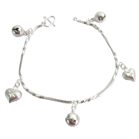 Dangling Jingle Ball Star Charm Bracelet High Quality Rhodium Chain