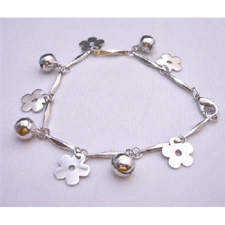 Christmas Bracelet w/ Charms Flowers & Jingle Balls Good Rhodium Chain