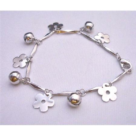 Christmas Bracelet w/ Charms Flowers & Jingle Balls Good Rhodium Chain