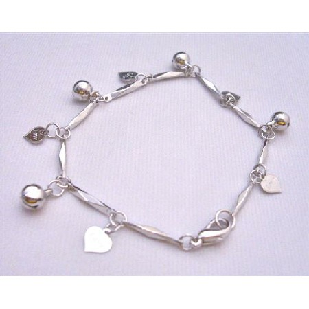 Charm Bracelet Rhodium Chain Hanging Charms Heart w/ Love Engraved
