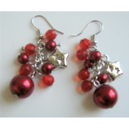 Christmas Red Simulated Pearl Crystals & Stars Dangling Earrings