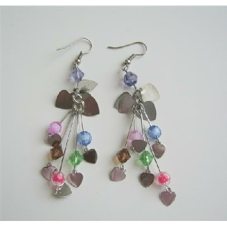 Multi Fancy Beads Dangling Earrings w/ Heart Shape Dangling Earrings
