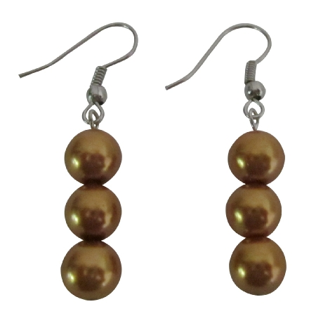Golden Pearls Earrings 3 Pearls Accessory Jewelry