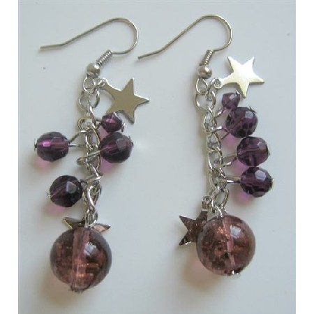 Stars Balls Christmas Earrings Amethyst Simulated Crystals Earrings