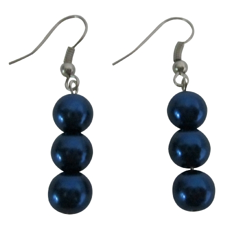 Striking Smashing Dark Blue Pearls Earrings 3 Pearls Earrings