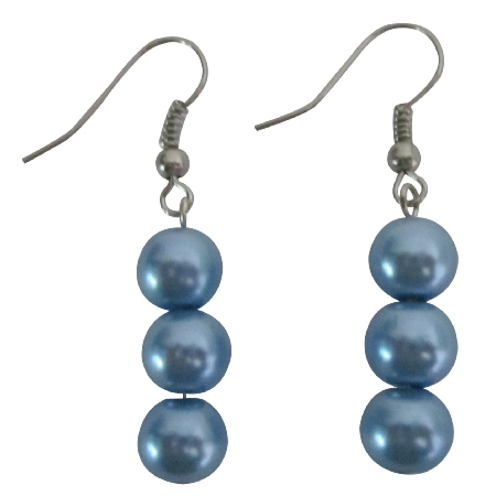 Simulated 8mm Aquamarine Light Blue Pearls Accented Earrings Jewelry