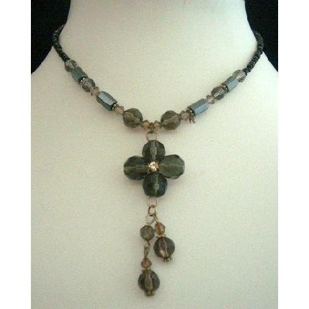 Necklace Crystals Drop w/ Black Bead & Crystals Choker