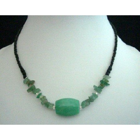 Choker w/ Simulated Green Turquoise Bead 15 inches Necklace