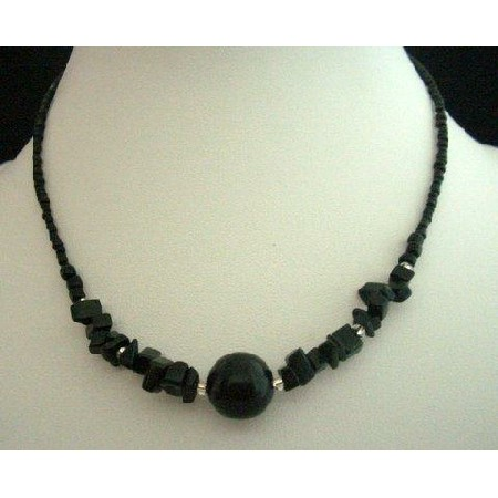 Black Bead Stone Choker 15 inches Necklace