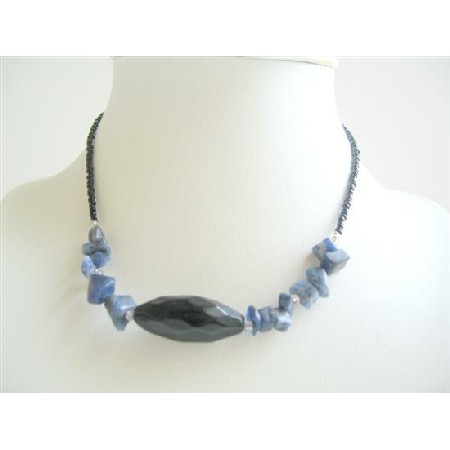 Simulated Blue Stone & Blue Nuggets Necklace 15 inches Choker