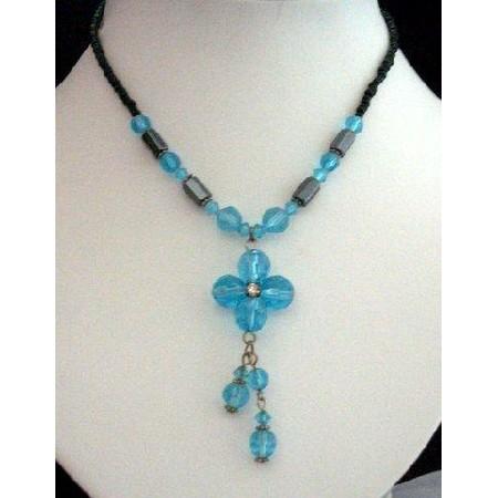 Crystals Necklace Blue Bead Simulated Aquamarine Crystals Drop Choker